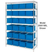 """Global Industrial™ Chrome Wire Shelving With 24 6""""H Grid Container Blue, 60x24x74"""