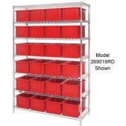 "Chrome Wire Shelving With 24 6""H Grid Container Red, 60x24x74"