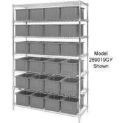 "Chrome Wire Shelving With 24 6""H Grid Container Gray, 60x24x74"