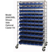 "Chrome Wire Shelving with 140 4""H Plastic Shelf Bins Blue, 72x18x74"