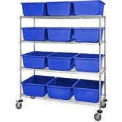"""Quantum MWR4-2419-9 Mobile Chrome Wire Truck With 12 9-1/2""""H Nesting Totes Blue, 60""""L x 24""""W x 69""""H"""