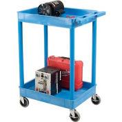 Luxor® BUSTC11BU Blue 2 Shelf Tray Shelf Plastic Cart 24 x 18