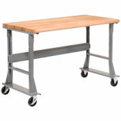 """72""""W x 30""""D Mobile Fixed Height C-Channel Flared Leg Workbench - Ash Block Safety Edge - Gray"""