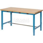 "72""W x 30""D Packing Workbench with Power Apron - Maple Butcher Block Square Edge - Blue"