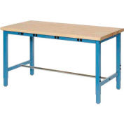 """60""""W x 30""""D Packaging Workbench with Power Apron - Maple Butcher Block Safety Edge - Blue"""