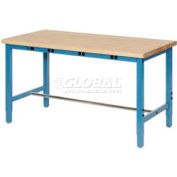 """72""""W x 30""""D Packaging Workbench with Power Apron - Maple Butcher Block Safety Edge - Blue"""