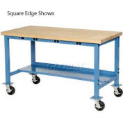 "60""W x 30""D Mobile Packing Workbench with Power Apron - Maple Butcher Block Safety Edge - Blue"