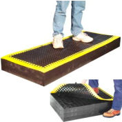 """7/8"""" Thick Anti Fatigue Mat - Black with Yellow Border 36X36"""