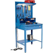 "Shop Desk with Pigeonhole Riser & Pegboard Panel 34-1/2""W x 30""D x 38H"" Sloped Surface - Blue"