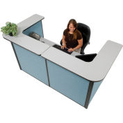 "U-Shaped Reception Station, 88"" W x 44""D x 44""H, Gray counter, Blue Panel"