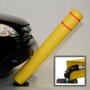 "52"" H FlexBollard™ - Installation d'asphalte - bandes de couverture jaune/blanc"