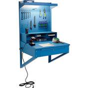 Global Industrial™ Wall Mount Shop Desk, Pigeonhole Riser, Pegboard & Top Shelf 34-1/2x30x61 BL