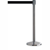 "Crowd Control Stanchion, 39""H Stainless Steel Post, 6-1/2' Black Retractable Belt - Pkg Qty 2"