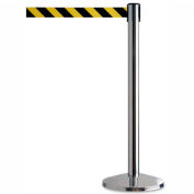 "Crowd Control Stanchion, 39""H Stainless Steel Post, 7-1/2' Yellow/Black Retractable Belt - Pkg Qty 2"