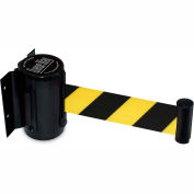 """Queueway Safety Crowd Control Retractable Wall Mount Barrier, Black With 7'6"""" Black/Yellow Belt"""