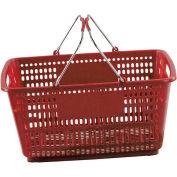 Panier à provisions en plastique rouge VersaCart® 30 litres avec du plastique noir poignées poignée du fil, qté par paquet : 20