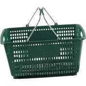 VersaCart® vert panier à provisions en plastique 30 litres avec du plastique noir poignées poignée du fil, qté par paquet : 20