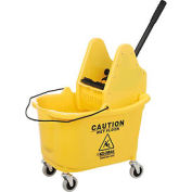 Global Industrial™ Mop Bucket and Wringer Combo, Down Press, Jaune