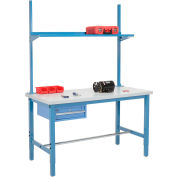 "60""W x 30""D Production Workbench - Plastic Square Edge with Drawer, Riser and Shelf - Blue"
