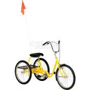 Medium Duty Tricycle industriel 350 lb capacité monovitesse frein à rétropédalage jaune