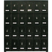 "24 Doors Cell Phone Locker 22""W x 16""D x 26""H Black with Combo Locks"