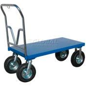"Vestil Steel Deck Platform Truck PNU-3672 12"" Pneumatic Wheels 72 x 36"