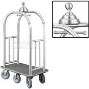 Glaro Ball Crown Bellman Cart 40x25 Satin Aluminum Gray Carpet, 6 Gray Pneu Wheels