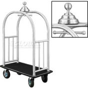 Glaro Ball Crown Bellman Cart 48x25 Satin Aluminum Black Carpet, 4 Black Pneu Wheels