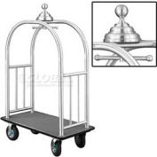 Glaro Ball Crown Bellman Cart 48x25 Satin Aluminum Gray Carpet, 4 Black Pneu Wheels