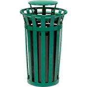 Global Industrial™ Outdoor Metal Slatted Trash Receptacle with Rain Bonnet Lid - 24 Gal Green