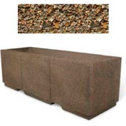 "Concrete Outdoor Planter w/Forklift Knockouts, 72""Lx24""W x 24""H Rectangle Tan River Rock"