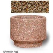"Small Concrete Outdoor Planter, 19""Dia. x 15""H Round Tan River Rock"