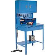 """Global Industrial™ Sloped Shop Desk w / Pegboard, Riser &Cabinet, 34-1/2""""W x 30""""D, Bleu"""