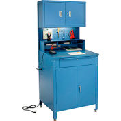 "Global Industrial™ Cabinet Shop Desk w / Pegboard &Upper Cabinet, 34-1/2""W x 30""D, Bleu"