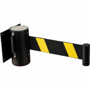 "Black Wall Mount 79"" Black/Yellow Retractable Belt Barrier With Receiver"