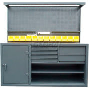 """StrongHold® Cabinet Workstation, Pegboard Riser, 72""""W x 30""""D, Gray"""