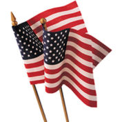 """12 x 18"""" US Hand-Held Stick Flag with Gold Speartip, Pack of 12"""