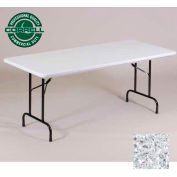 "Correll Folding Table - Blow Molded - 30"" x 72"", Gray Granite"