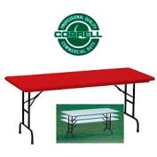 "Correll Adjustable Height Folding Table - Blow Molded - 30"" x 72"", Red"