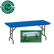"Correll Adjustable Height Folding Table - Blow Molded - 30"" x 72"", Blue"