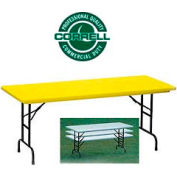 "Correll Adjustable Height Folding Table - Blow Molded - 30"" x 72"", Yellow"