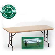 "Correll Adjustable Height Folding Table - Blow Molded - 30""x96""Mocha Granite"