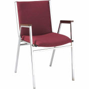 "KFI Stack Chair With Arms - Fabric -2"" thick Seat Burgundy Fabric"