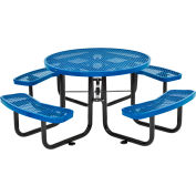 """46"""" Round Expanded Metal Picnic Table Blue"""