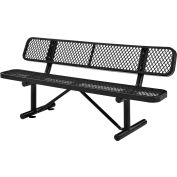 6 ft. Outdoor Steel Bench with Backrest - Expanded Metal - Black