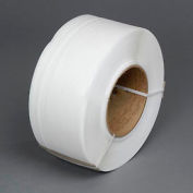 """Global Industrial™ 9"""" x 8"""" Core Machine Grade Strapping, 12900'L x 3/8""""W x 0.022"""" Thick, White"""