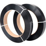 "Polyester Strapping 1/2"" x .028"" x 3,250' Black 16"" x 3"" Core - Pkg Qty 2"