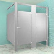 "Polymer Bathroom Partitions Complete 2 In-Corner Compartment 76"" Wide - Gray"