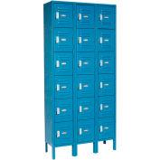 Paramount® Locker Six Tier 12x18x12 18 Door Assembled Blue