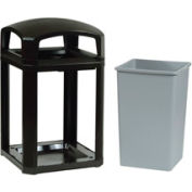 Rubbermaid Landmark Series® 35 Gallon Dome Top Frame with Liner - Black
